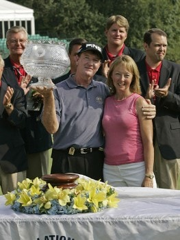 Bob Gilder after winning the Constellation Energy Classic being held at Hayfields Country Club in Hunt Valley, Maryland on September 18, 2005. Gilder won the event finishing at -18 under par and takes home $255,000.Photo by Mike Ehrmann/WireImage.com