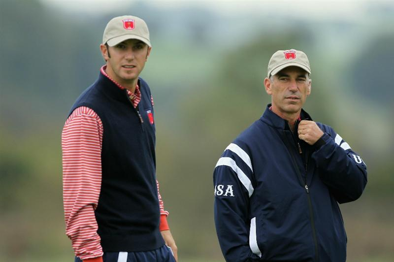 NEWPORT, WALES - SEPTEMBER 30:  USA Team Captain Corey Pavin chats with Dustin Johnson during a practice round prior to the 2010 Ryder Cup at the Celtic Manor Resort on September 30, 2010 in Newport, Wales.  (Photo by Andy Lyons/Getty Images)