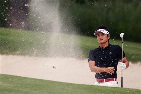 DULUTH, GA - MAY 18:   Ryuji Imada of Japan hits from a bunker on the 17th hole during the final round of the AT&T Classic at TPC Sugarloaf on May 18, 2008 in Duluth, Georgia.  (Photo by Kyle Auclair/Getty Images)