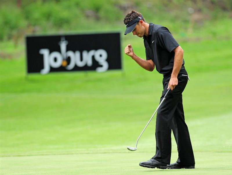 JOHANNESBURG, SOUTH AFRICA - JANUARY 17:  Charl Schwartzel of South Africa celebrates his putt on the sixth hole during the final round of the Joburg Open at Royal Johannesburg and Kensington Golf Club on January 17, 2010 in Johannesburg, South Africa.  (Photo by Stuart Franklin/Getty Images)