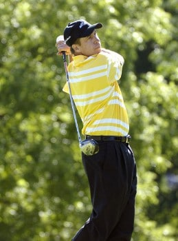 Todd Fischer tees off the ninth hole during the second round of the 2005 Cialis Western Open at Cog Hill Golf and Country Club in Lemont, Illinois on Friday, July 1, 2005.Photo by Marc Feldman/WireImage.com