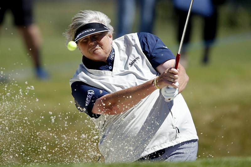 PEGASUS, NEW ZEALAND - FEBRUARY 17: Laura Davies of England plays a shot on the 7th hole during day one of the Women's New Zealand Open at Pegasus Golf Club on February 17, 2011 in Pegasus, New Zealand.  (Photo by Martin Hunter/Getty Images)