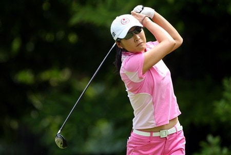 EVIAN, FRANCE - JULY 25:  Candy Kung of Taiwan tees off on the third hole during the second round of the Evian Masters at the Evian Masters Golf Club on July 25, 2008 in Evian, France.  (Photo by Andrew Redington/Getty Images)