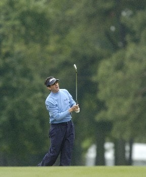 Billy Andrade hits his approach shot into the 9th green during the first round of the Wachovia Championship on Thursday, May 5, 2005 at the Quail Hollow Club in Charlotte, North Carolina.Photo by Marc Feldman/WireImage.com