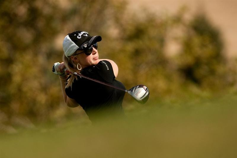 DANVILLE, CA - OCTOBER 14: Morgan Pressel follows through on a tee shot during the first round of the CVS/Pharmacy LPGA Challenge at Blackhawk Country Club on October 14, 2010 in Danville, California. (Photo by Darren Carroll/Getty Images)