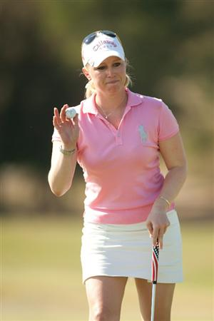PRATTVILLE, AL - OCTOBER 8: Morgan Pressel acknowledges the gallery following a birdie putt during the second round of the Navistar LPGA Classic at the Senator Course at the Robert Trent Jones Golf Trail  on October 8, 2010 in Prattville, Alabama. (Photo by Darren Carroll/Getty Images)