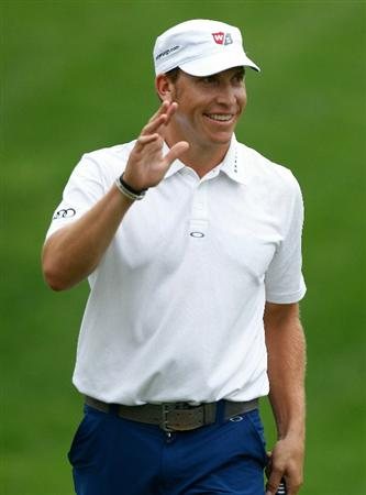 DUBLIN, OH - JUNE 05:  Ricky Barnes smiles after making birdie on the 15th hole during the third round of the Memorial Tournament presented by Morgan Stanley at Muirfield Village Golf Club on June 5, 2010 in Dublin, Ohio.  (Photo by Scott Halleran/Getty Images)