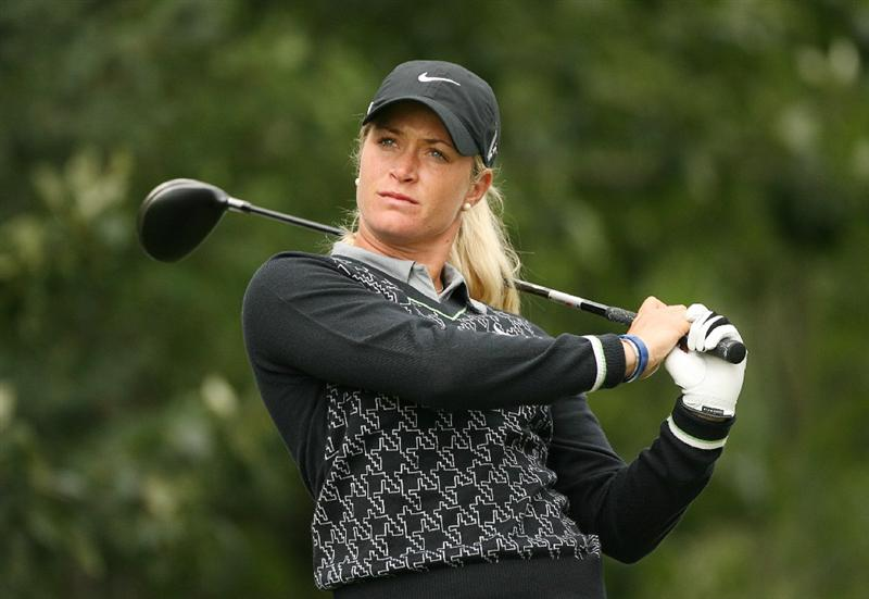 CALGARY, AB - SEPTEMBER 06 : Suzann Pettersen of Norway hits her tee shot on the 10th hole during the final round of the Canadian Women's Open at Priddis Greens Golf & Country Club on September 6, 2009 in Calgary, Alberta, Canada. (Photo by Hunter Martin/Getty Images)