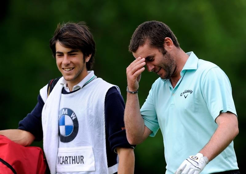 TURIN, ITALY - MAY 08:  Andrew McArthur of Scotland and caddie on the eighth hole during the third round of the BMW Italian Open at Royal Park I Roveri on May 8, 2010 in Turin, Italy.  (Photo by Stuart Franklin/Getty Images)
