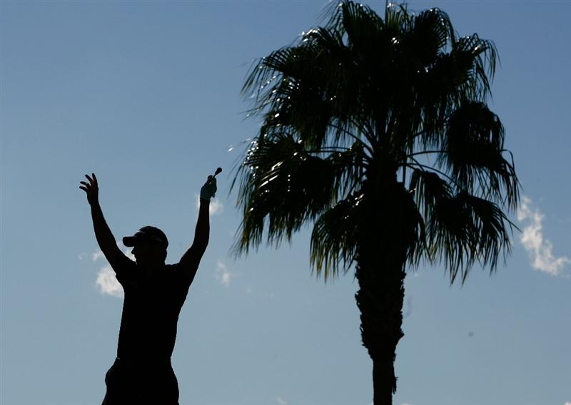 LA QUINTA, CA - JANUARY 25:  A silhouette of John Mallinger after hitting a hole-in-one on the third hole during the final round of the Bob Hope Chrysler Classic at the Palmer Course at PGA West on January 25, 2009 in La Quinta, California.  (Photo by Jeff Gross/Getty Images)