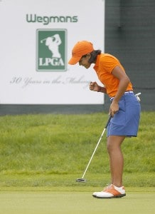 Julieta Granada pumps her fist after making birdie on the 18th hole during the final round of the Wegmans LPGA in Pittsford, New York, June 25, 2006. Granada finished second, one stroke behind winner Jeong Jang.Photo by Kevin Rivoli/WireImage.com