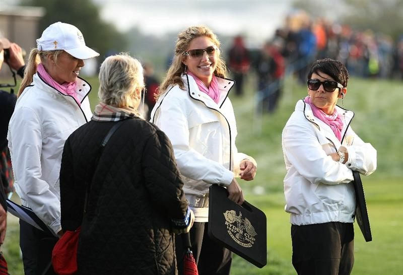NEWPORT, WALES - OCTOBER 02:  Martin Kaymer's partner Allison Micheletti and Laurae Westwood (R) watch the action during the rescheduled Morning Fourball Matches during the 2010 Ryder Cup at the Celtic Manor Resort on October 2, 2010 in Newport, Wales.  (Photo by Ross Kinnaird/Getty Images)