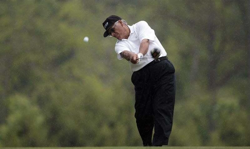 BIRMINGHAM, AL - MAY 14:  Lee Trevino tees off on the fifth hole during the Thursday Pro-AM of the Regions Charity Classic at the Robert Trent Jones Golf Trail at Ross Bridge on May 14, 2009  in Birmingham, Alabama. (Photo by Dave Martin/Getty Images)