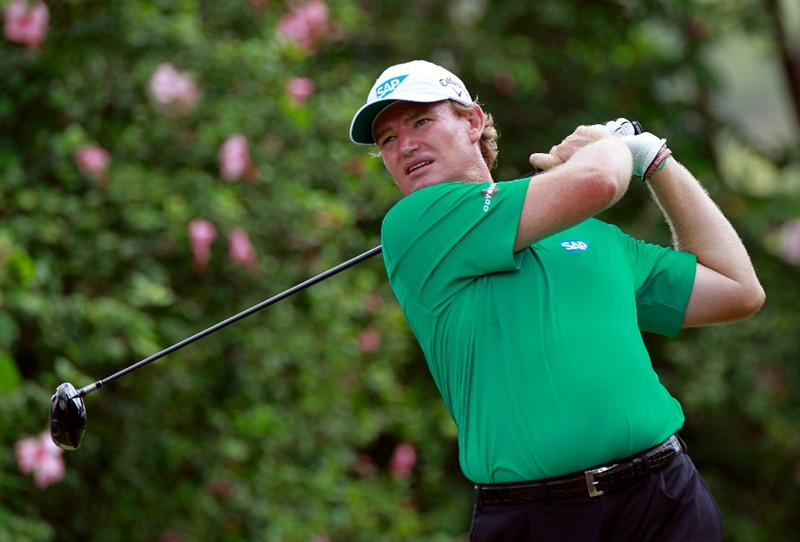 HONOLULU, HI - JANUARY 14:  Ernie Els of South Africa plays a shot on the 5th hole during the first round of the Sony Open at Waialae Country Club on January 14, 2011 in Honolulu, Hawaii.  (Photo by Sam Greenwood/Getty Images)