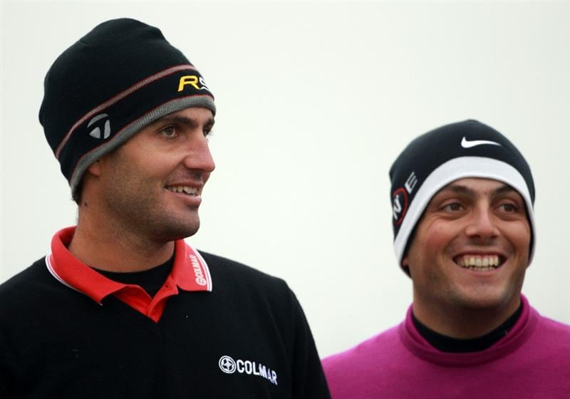 CARNOUSTIE, SCOTLAND - OCTOBER 09:  Edoardo Molinari and Francesco Molinari on the sixth tee during the third round of The Alfred Dunhill Links Championship at the Carnoustie Golf Links on October 9, 2010 in Carnoustie, Scotland.  (Photo by Andrew Redington/Getty Images)