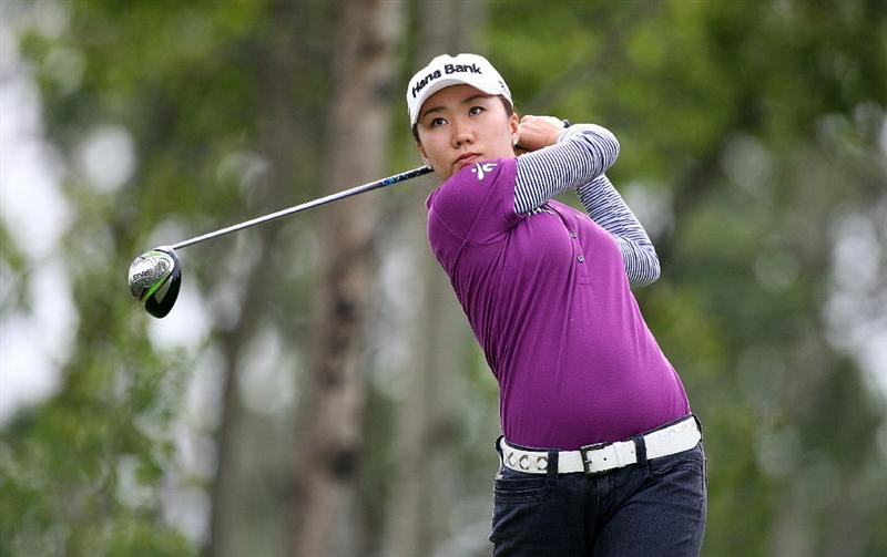 CALGARY, AB - SEPTEMBER 06:  In-Kyung Kim of South Korea hits her tee shot on the fourth hole during the final round of the Canadian Women's Open at Priddis Greens Golf & Country Club on September 6, 2009 in Calgary, Alberta, Canada. (Photo by Hunter Martin/Getty Images)