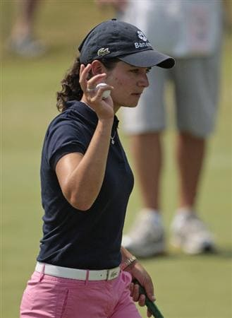 PRATTVILLE, AL - SEPTEMBER 28:   Lorena Ochoa of Mexico waves after making a par on the second hole during final round play in the Navistar LPGA Classic at the Robert Trent Jones Golf Trail at Capitol Hill on September 28, 2008 in Prattville, Alabama.  (Photo by Dave Martin/Getty Images)
