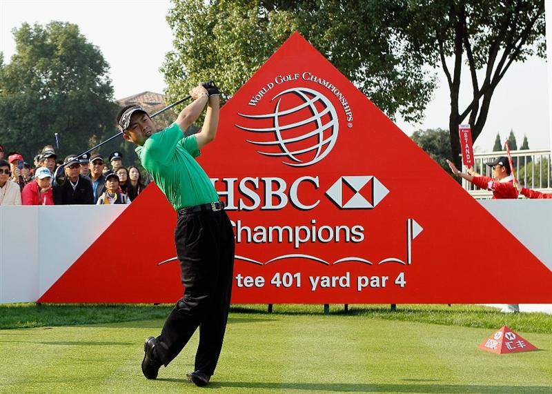 SHANGHAI, CHINA - NOVEMBER 04:  Yuta Ikeda of Japan hits his tee shot on the tenth tee during the first round of the HSBC Champions at the Sheshan Golf Club on November 4, 2010 in Shanghai, China.  (Photo by Scott Halleran/Getty Images)