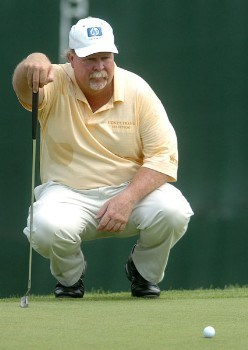 Craig Stadler lines up a putt on the fourth green during the first round of the 2005 U.S. Senior Open Championship at NCR Country Club, July 28, 2005 in Kettering, Ohio.Photo by Steve Grayson/WireImage.com