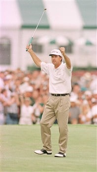 16 Jun 1996:  Steve Jones of America holes the winning putt on the 18th green for  victory by one shot in the final round of the U.S. Open at Oakland Hills Country Club in Bloomfield Hills, Michigan.  Mandatory Credit: Doug Pensinger/ALLSPORT