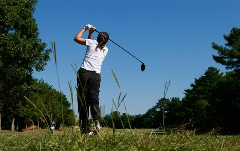 SHIMA, JAPAN - NOVEMBER 05:  Candie Kung of Taiwan plays a shot on the 2nd hole during round one of the Mizuno Classic at Kintetsu Kashikojima Country Club on November 5, 2010 in Shima, Japan.  (Photo by Chung Sung-Jun/Getty Images)