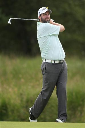 LUSS, UNITED KINGDOM - JULY 09:  Kenneth Ferrie of England hits his second shot on the 13th hole during the First Round of The Barclays Scottish Open at Loch Lomond Golf Club on July 09, 2009 in Luss, Scotland. (Photo by Andrew Redington/Getty Images)