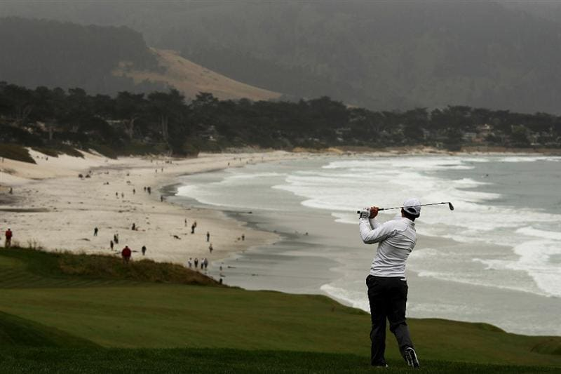 PEBBLE BEACH, CA - JUNE 18:  Paul Casey of England watches his approach shot on the ninth hole during the second round of the 110th U.S. Open at Pebble Beach Golf Links on June 18, 2010 in Pebble Beach, California.  (Photo by Ross Kinnaird/Getty Images)