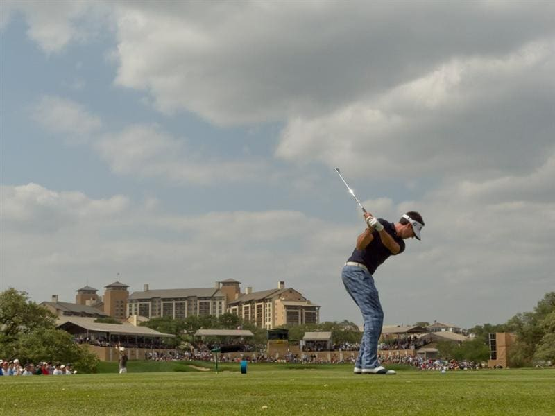 SAN ANTONIO, TX - APRIL 17: Cameron Tringale plays a tee shot on the 16th hole during the final round of the Valero Texas Open at the AT&T Oaks Course at TPC San Antonio on April 17, 2011 in San Antonio, Texas. (Photo by Darren Carroll/Getty Images)