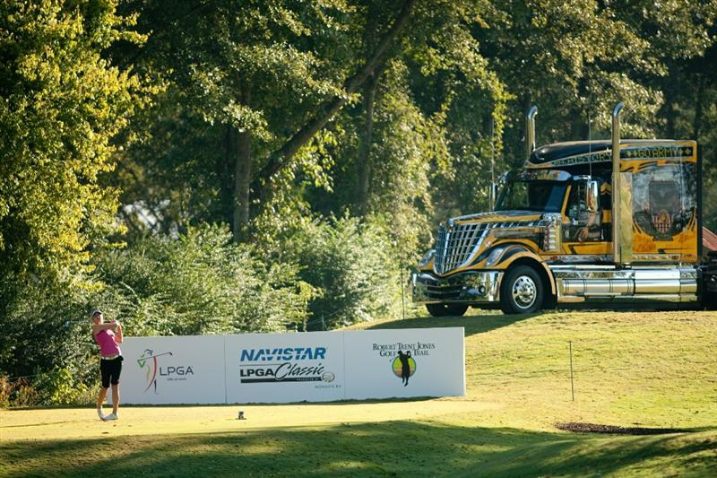 PRATTVILLE, AL - OCTOBER 8: Sandra Gal of Germany follows through on a tee shot during the second round of the Navistar LPGA Classic at the Senator Course at the Robert Trent Jones Golf Trail on October 8, 2010 in Prattville, Alabama. (Photo by Darren Carroll/Getty Images)