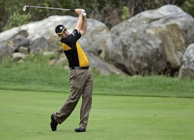 Ben Curtis hits his approach shot on the 5th hole during the third round of the 84 LUMBER Classic held on the Mystic Rock Course at Nemacolin Woodlands Resort & Spa in Farmington, Pennsylvania, on September 16, 2006.Photo by Hunter Martin/WireImage.com