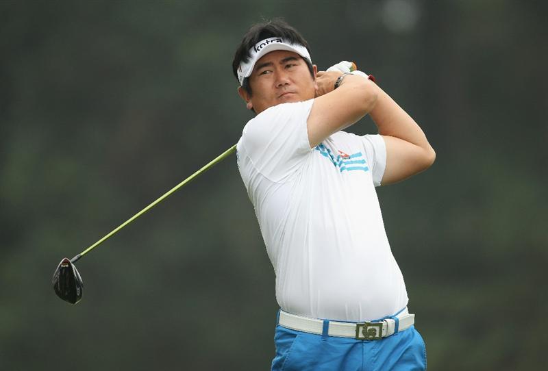 HONG KONG - NOVEMBER 18:  Y.E. Yang of South Korea looks on after playing a shot during day one of the UBS Hong Kong Open at The Hong Kong Golf Club on November 18, 2010 in Hong Kong, Hong Kong.  (Photo by Ian Walton/Getty Images)