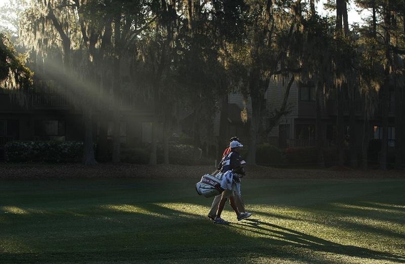 HILTON HEAD ISLAND, SC - APRIL 16:  Ricky Barnes walks with his caddie on the second hole during the second round of the Verizon Heritage at the Harbour Town Golf Links on April 16, 2010 in Hilton Head lsland, South Carolina.  (Photo by Scott Halleran/Getty Images)