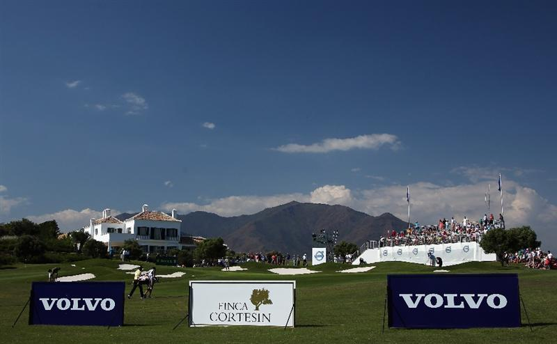 CASARES, SPAIN - MAY 21:  Nicolas Colsaerts of Belgium walks with his caddie duing his quarter final match of the Volvo World Match Play Championship at Finca Cortesin on May 21, 2011 in Casares, Spain.  (Photo by Andrew Redington/Getty Images)