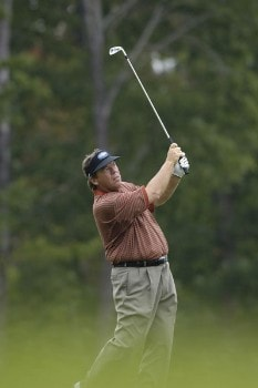 joey Sindelar hits his tee shot on the par three 12th hole during the third round of the 84 Lumber Classic on Saturday, September 17, 2005  held at the Mystic Rock Golf Course/Nemacolin Woodlands Resort  in Farmington, PennsylvaniaPhoto by Marc Feldman/WireImage.com