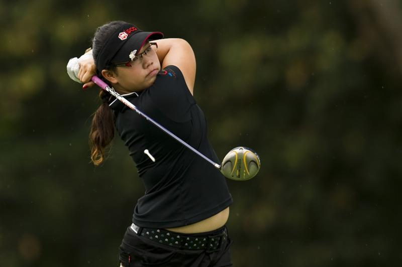 CHON BURI, THAILAND - FEBRUARY 20:  Ariya Jutanugarn of Thailand tees off on the 9th hole during round three of the Honda PTT LPGA Thailand at Siam Country Club on February 20, 2010 in Chon Buri, Thailand.  (Photo by Victor Fraile/Getty Images)