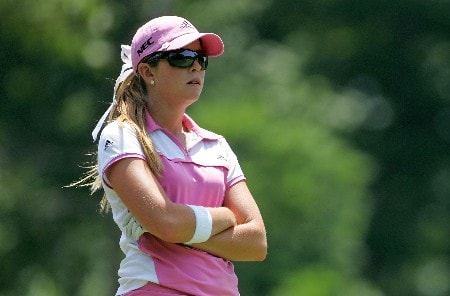 HAVRE DE GRACE, MD - JUNE 07:  Paula Creamer waits to hit her tee shot on the par 3 17th hole during the first round of the McDonalds LPGA Championship at Bulle Rock golf course on June 7, 2007 in Havre de Grace, Maryland.  (Photo by Andy Lyons/Getty Images)