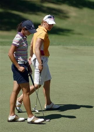 KAPALUA, HI - OCTOBER 16: Lorena Ochoa of Mexico and Annika Sorenstam of Sweden walk on the 2nd green during the first round of the Kapalua LPGA Classic on October 16, 2008 at the Bay Course in Kapalua, Maui, Hawaii. (Photo by Donald Miralle/Getty Images)