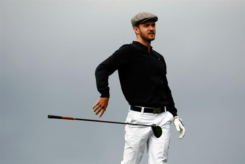 PEBBLE BEACH, CA - FEBRUARY 12:  Justin Timberlake drops his club after hitting an errant tee shot on the sixth hole during the first round of the AT&T Pebble Beach National Pro-Am at the Spyglass Hill Golf Course on February 12, 2009 in Pebble Beach, California.  (Photo by Jeff Gross/Getty Images)