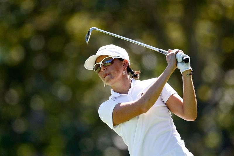 DANVILLE, CA - SEPTEMBER 25:  Stacy Prammanasudh tees off on the 7th hole during the second round of the CVS/pharmacy LPGA Challenge at Blackhawk Country Club on September 25, 2009 in Danville, California.  (Photo by Jonathan Ferrey/Getty Images)