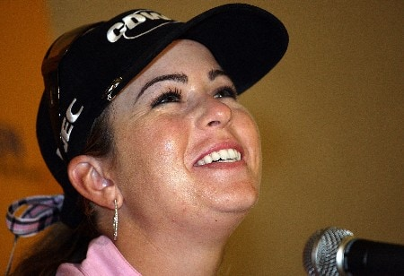 KAHUKU, HI - FEBRUARY 13:  Paula Creamer talks with the media at a news conference for the SBS Open on February 13, 2008  at the Turtle Bay Resort in Kahuku, Hawaii.  (Photo by Andy Lyons/Getty Images)