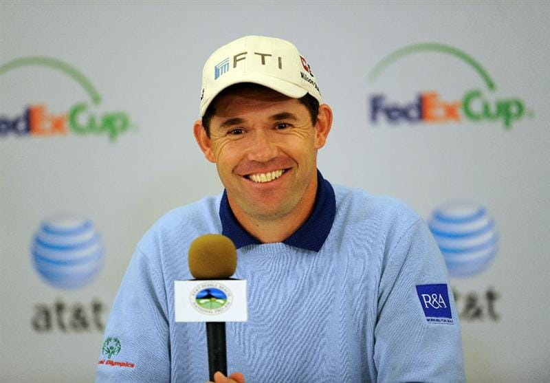 PEBBLE BEACH, CA - FEBRUARY 09:  Padraig Harrington of Ireland addresses the media during his poress conference prior to the start of the AT&T Pebble Beach National Pro-Am at Pebble Beach Golf Links on February 9, 2011  in Pebble Beach, California.  (Photo by Stuart Franklin/Getty Images)
