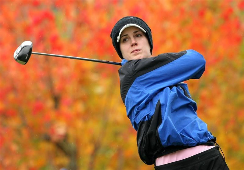 SHIMA, JAPAN - NOVEMBER 08:  Sandra Gal of Germany makes a tee shot on the second hole during the second round of 2008 Mizuno Classic at Kintetsu Kashikojima Country Club on November 8, 2008 in Shima, Mie, Japan.  (Photo by Koichi Kamoshida/Getty Images)