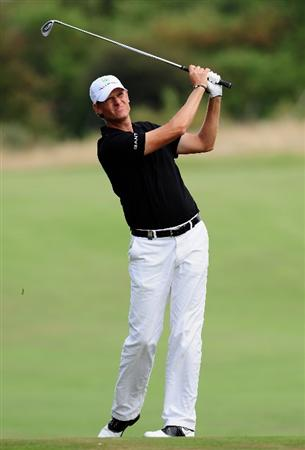 ZANDVOORT, NETHERLANDS - AUGUST 20:  Maarten Lafeber of The Netherlands plays his approach shot on the ninth hole during the first round of The KLM Open at Kennemer Golf & Country Club on August 20, 2009 in Zandvoort, Netherlands.  (Photo by Stuart Franklin/Getty Images)