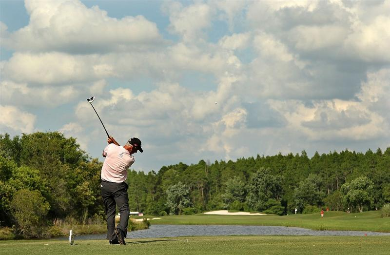 LUTZ, FL - APRIL 16: Corey Pavin hits his tee shot on the  15th hole during the second round of the Outback Steakhouse Pro-Am at the TPC of Tampa on April 16, 2011 in Lutz, Florida.  (Photo by Mike Ehrmann/Getty Images)