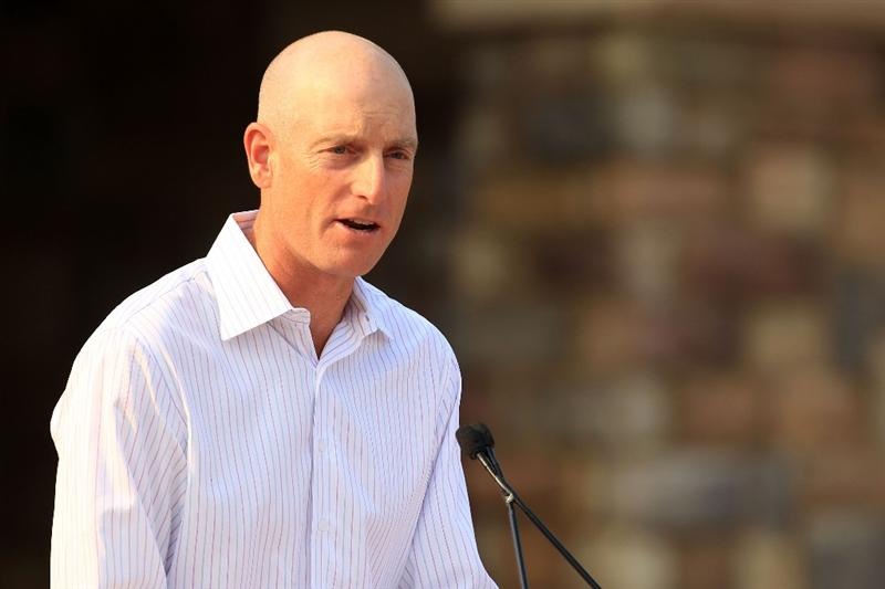 PONTE VEDRA BEACH, FL - MAY 11:  Jim Furyk addresses the crowd during the Military Appreciation Ceremony prior to the start of THE PLAYERS Championship held at THE PLAYERS Stadium course at TPC Sawgrass on May 11, 2011 in Ponte Vedra Beach, Florida.  (Photo by Streeter Lecka/Getty Images)
