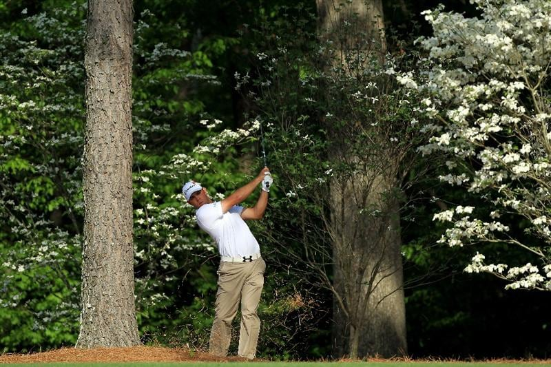 AUGUSTA, GA - APRIL 07:  Gary Woodland hits his second shot on the 11th hole during the first round of the 2011 Masters Tournament at Augusta National Golf Club on April 7, 2011 in Augusta, Georgia.  (Photo by David Cannon/Getty Images)