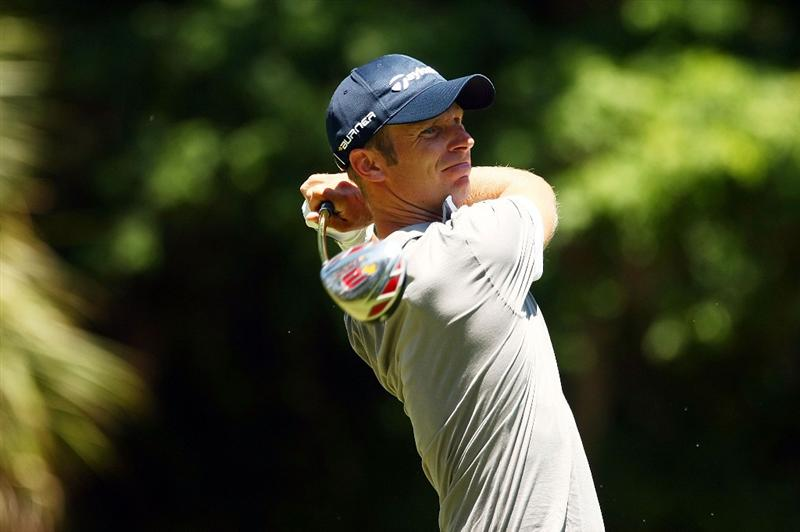 PONTE VEDRA BEACH, FL - MAY 09:  Richard S. Johnson of Sweden watches his tee shot on the second hole during the third round of THE PLAYERS Championship on THE PLAYERS Stadium Course at TPC Sawgrass on May 9, 2009 in Ponte Vedra Beach, Florida.  (Photo by Scott Halleran/Getty Images)