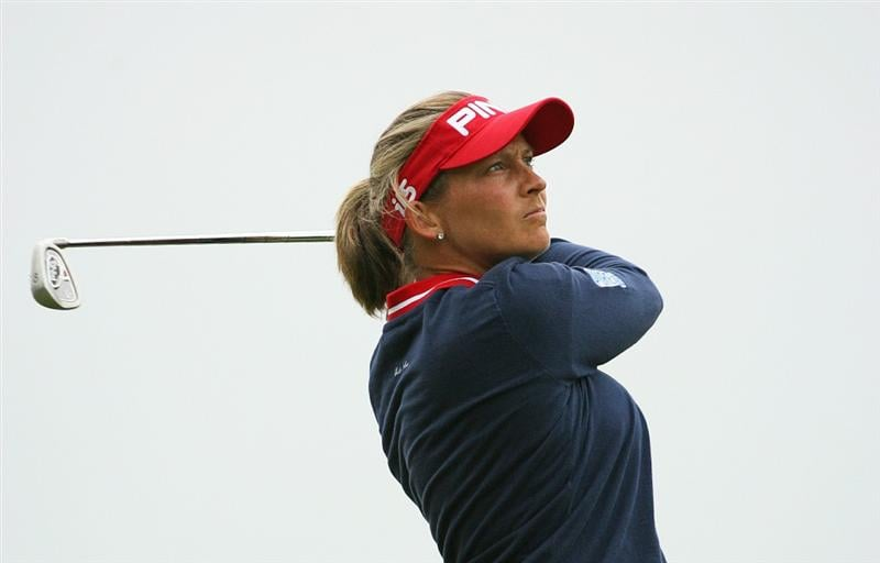 GLADSTONE, NJ - MAY 23: Angela Stanford watches her tee shot on the 16th hole during the final round of the Sybase Match Play Championship at Hamilton Farm Golf Club on May 23, 2010 in Gladstone, New Jersey. (Photo by Hunter Martin/Getty Images)