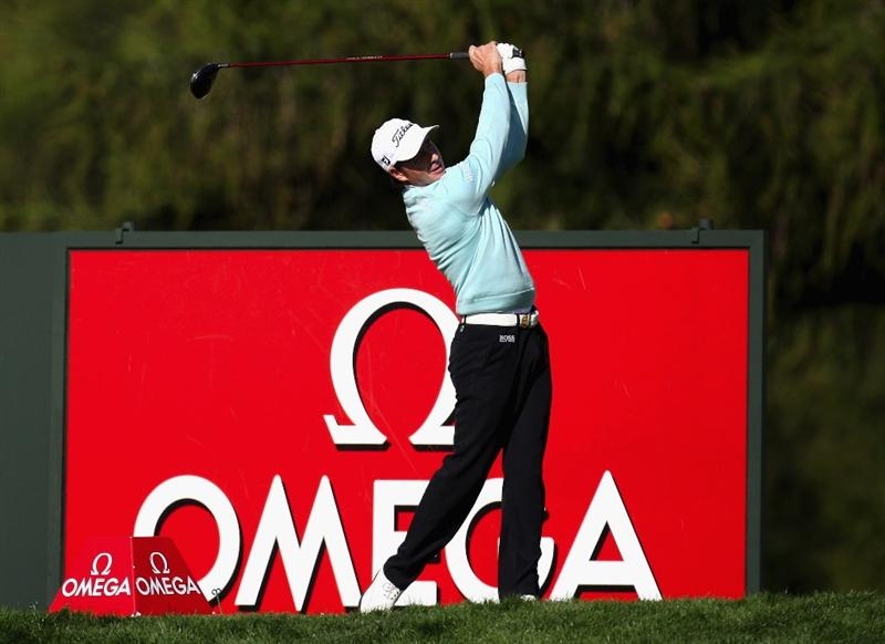 CRANS, SWITZERLAND - SEPTEMBER 05:  Bertt Rumford of Australia tees of on the par four 18th hole during the second round the Omega European Masters at the Golf Club Crans-sur-Sierre on September 5, 2008 in Crans, Switzerland.  (Photo by Ross Kinnaird/Getty Images)