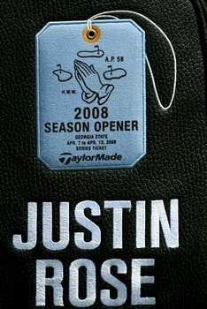 AUGUSTA, GA - APRIL 11:  A detail shot of Justin Rose's bag during the second round of the 2008 Masters Tournament at Augusta National Golf Club on April 11, 2008 in Augusta, Georgia.  (Photo by David Cannon/Getty Images)